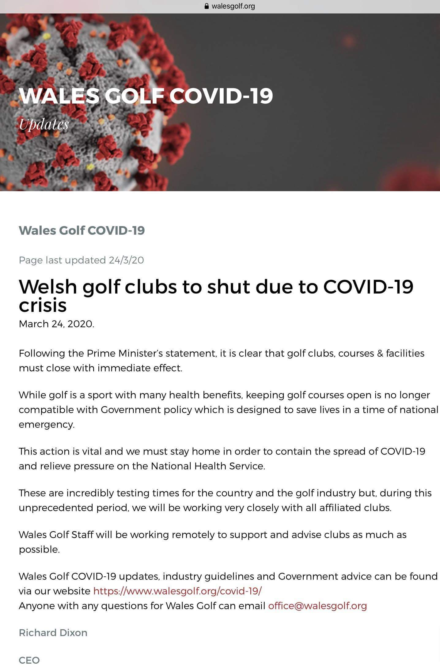 COURSE CLOSED - COVID-19 UPDATE 23/03/20