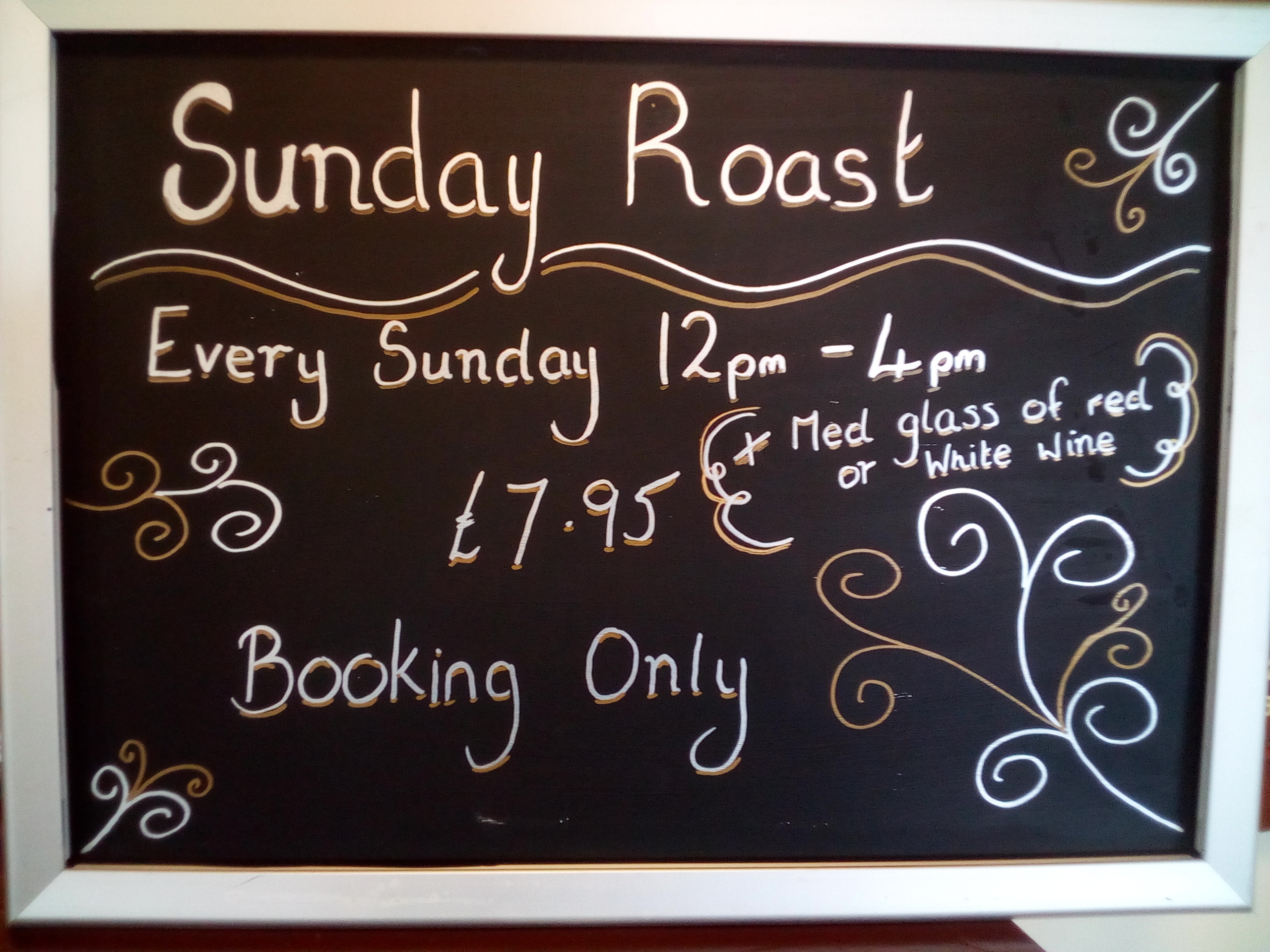 Sunday Lunches available from Sunday 27th October 2019