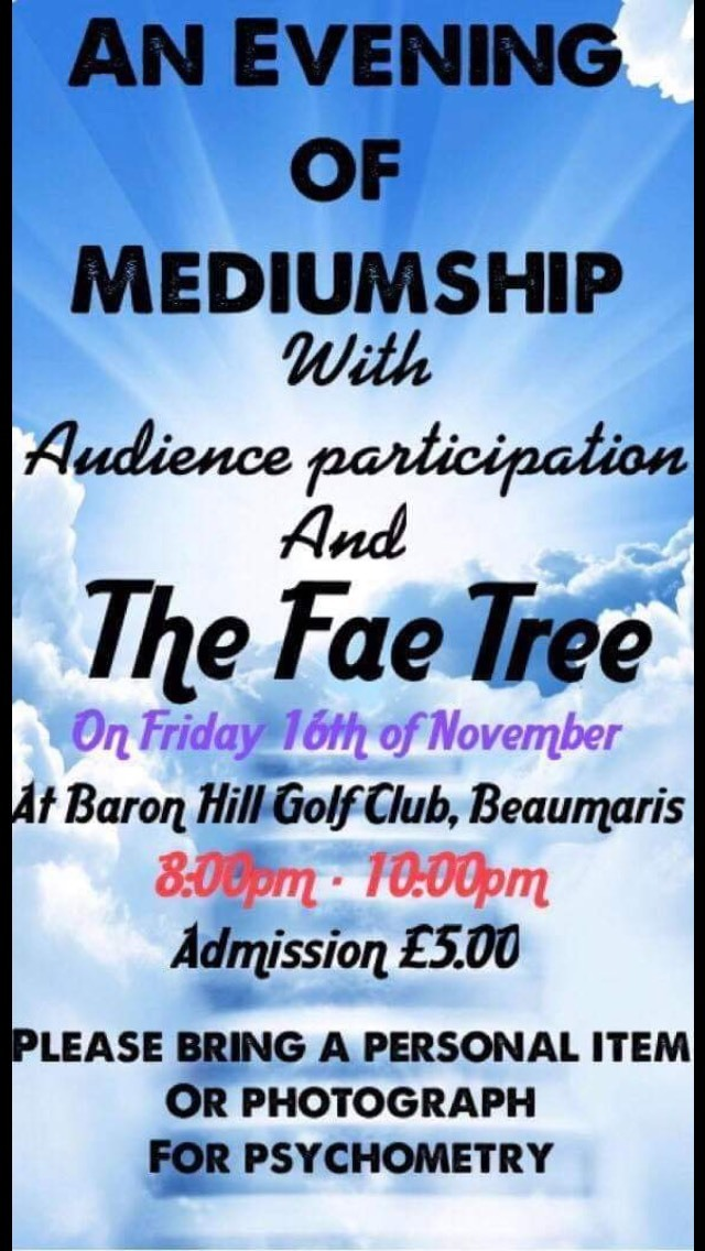 An Evening of Mediumship 8pm 16th November 2018
